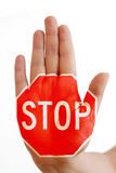 Main avec le signe d'arrêt Image libre de droits