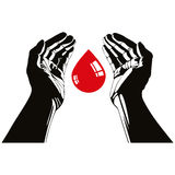 Main avec le symbole de vecteur de baisse de sang Photo stock