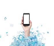 Main avec le téléphone portable Images stock