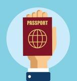 Main avec le vecteur de passeport Images libres de droits