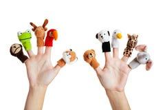 Main avec les marionnettes animales Image stock