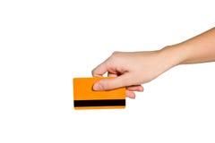 Main avec par la carte de crédit Photos libres de droits