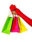 Main avec trois sacs à provisions Photo libre de droits