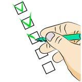 Main avec un stylo remplissant questionnaire illustration libre de droits