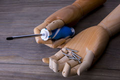 Main avec un tournevis et quelques vis Photo libre de droits