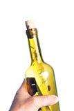 Main avec une note dans une bouteille Photographie stock libre de droits