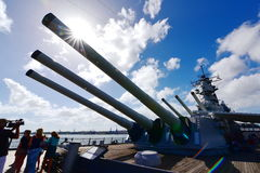 Main battery of Mark 7 guns on USS Missouri. OAHU - NOVEMBER 19: Main battery of Mark 7 guns on USS Missouri on November 19, 2015 in Honolulu, United States of royalty free stock images