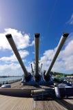 Main battery of Mark 7 guns on USS Missouri Royalty Free Stock Photo