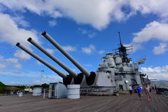 Main battery of Mark 7 guns on USS Missouri. OAHU - NOVEMBER 19: Main battery of Mark 7 guns on USS Missouri on November 19, 2015 in Honolulu, United States of stock images