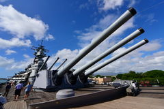 Main battery of Mark 7 guns on USS Missouri Stock Photo