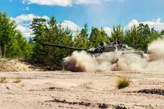 Main battle tank are going to dust Stock Image