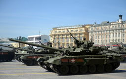 Main battle tank T-90A during a rehearsal of the parade Stock Images