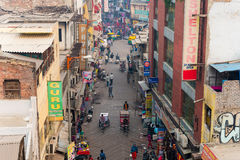 Main Bazar Rd of Paharganj district, Delhi Royalty Free Stock Images