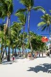 Main beach busy shop restaurant street in boracay island philippines Stock Images