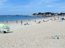 Main Beach, Carnac Plage, France. CARNAC, FRANCE, JULY 23 2015: View of the golden sand main beach in 'Carnac Plage' in the Gulf of Morbihan in Brittany. It is a Stock Image