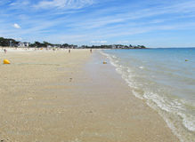 Main Beach, Carnac Plage, France. CARNAC, FRANCE, JULY 23 2015: View of the golden sand main beach in Carnac Plage in the Gulf of Morbihan in Brittany. It is a Royalty Free Stock Images