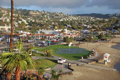 Main Beach and downtown Laguna Beach, California. Stock Photos