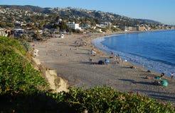 Main Beach in late November at Laguna Beach, CA. Royalty Free Stock Images