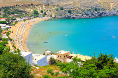 The main beach of Lindos. View from above of the main beach in Lindos stock photography