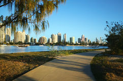 Main Beach Surfers Paradise Australia. View across the Nerang River to Main Beach and Surfers Paradise on the Gold Coast Australia Royalty Free Stock Photography
