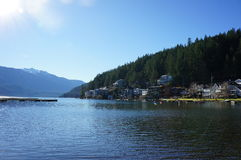 Main Beach View. Of docks and homes at Cultus Lake Royalty Free Stock Photo