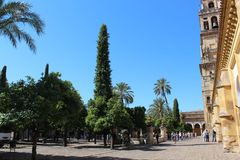 The main bell Tower of Cordoba Mosque, Spain. The Great Mosque or Mezquita famous interior in Cordoba, Spain Stock Photo