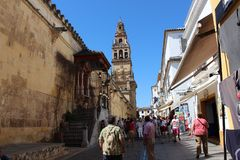 The main bell Tower of Cordoba Mosque, Spain. The Great Mosque or Mezquita famous interior in Cordoba, Spain stock photos
