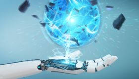 Main blanche de robot créant le rendu de la boule 3D d'énergie Photo stock