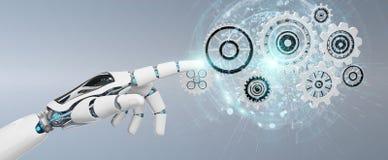 Main blanche de robot de humanoïde utilisant le rendu numérique des vitesses 3D illustration stock
