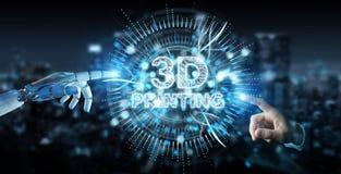 Main blanche de robot utilisant 3D imprimant le rendu numérique de l'hologramme 3D illustration de vecteur