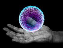 Main, boule magique, sorcière de charme magique illustration de vecteur