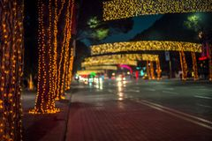 Festive mood in Tirana center. The main boulevard of Tirana, decorated with lights for new year and Christmas holidays Royalty Free Stock Photo
