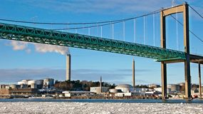 Main Bridge in Gothenburg, Sweden. Bridge is heavily trafficed mainly by lorries goin back and fro to the port, the largest in Scandinavia stock photos