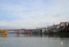 Main bridge over the Drava river in Maribor Stock Photos