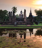 Main buddha Statue in Sukhothai historical park Royalty Free Stock Images