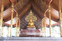 Main Buddha on Wat Sirindhorn Wararam Phu Prao temple. Stock Photo