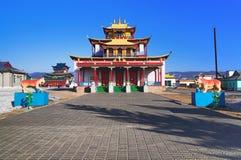 Main buddhist temple of the Ivolginsky Datsan Stock Photos