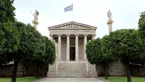 Main building of the Academy of Athens in Greece stock video
