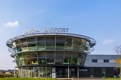 Main building of Airport seppe breda, Bosschenhoofd, the Netherlands, march 30, 2019. The main building of Airport seppe breda, Bosschenhoofd, the Netherlands royalty free stock photo