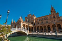 Main building and bridge at Spain Square, Plaza de Espana, in Sevilla. Andalusia, Spain stock image
