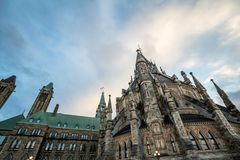 Main building of the center block of the Parliament of Canada, in the Canadian Parliamentary complex of Ottawa, Ontario royalty free stock photos