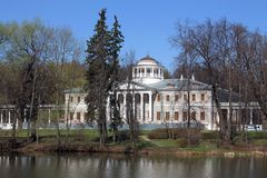 Main building of the estate near Moscow. Ostafyevo manor - it is a kind of Russian Parnassus built in XIX-XX centuries. Among the estate Ostafyevo owners were Stock Photography