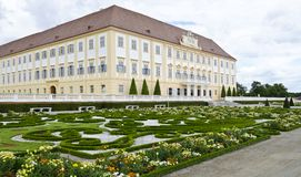 Main building and flower parterre of the palace hof Royalty Free Stock Image