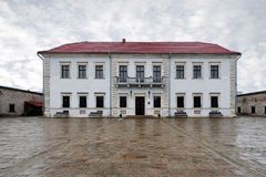 Main building and inner yard of Zbarazh Castle in Zbarazh town of Ternopil Oblast in Western Ukraine. Main building and inner yard of Zbarazh Castle, fortified royalty free stock photos