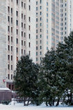 Main building of the Lomonosov Moscow State University. MGU. The Sparrow Hills. Russia. Winter. Royalty Free Stock Photo