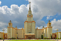 Main building of Lomonosov Moscow State University in summer. It was built in 1953 Royalty Free Stock Image