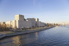 Main Building of the Ministry of Defence of the Russian Federation Minoboron-- is the governing body of the Russian Armed Forces. And Moskva River panorama royalty free stock images