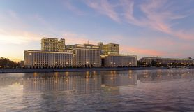 Main Building of the Ministry of Defence of the Russian Federation Minoboron and Moskva River. Moscow, Russia. Main Building of the Ministry of Defence of the royalty free stock photos
