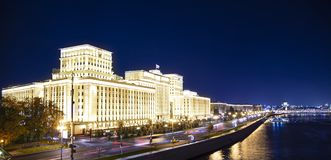 Main Building of the Ministry of Defence of the Russian Federation Minoboron, at night. Moscow, Russia. Main Building of the Ministry of Defence of the Russian royalty free stock photo