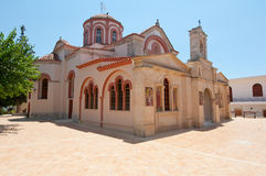 Main building of the Monastery of Panagia Kalyviani on the Crete island, Greece. Stock Image